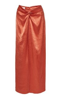 Nanushka Samara Gathered Satin Skirt ~ orange skirts