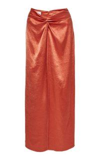 Nanushka Samara Gathered Satin Skirt ~ orange skirts