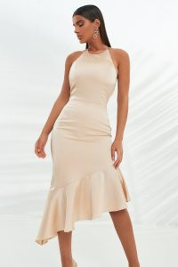 LAVISH ALIVE satin asymmetric button back midi dress in champagne – strappy back dresses