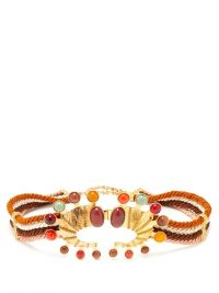 SONIA PETROFF Seahorse cabochon-embellished belt / multicoloured gemstone belts / luxe accessories