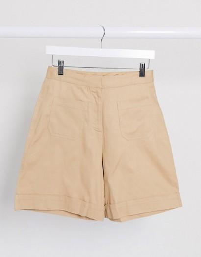 Selected Femme wide leg shorts in camel