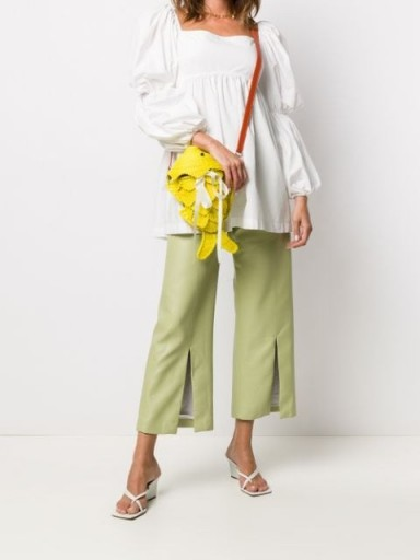 SENSI STUDIO fish shape crossbody bag / bright yellow bags