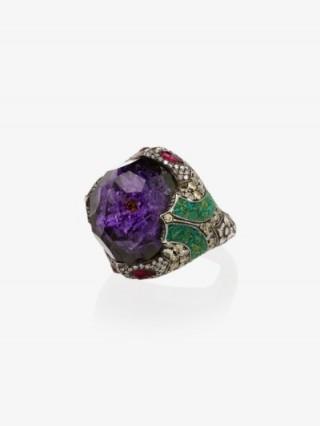 Sevan Biçakçi 24K Yellow Gold Flower Amethyst Diamond Ring ~ large ornate gemstone rings