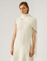 JOSEPH Crispy Cotton Shawl / white fringed shawls / chic wraps