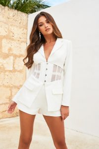 LAVISH ALICE sheer corset blazer in white