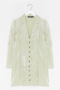 Nasty Gal Shimmer Button Down Soft Blazer Dress Sage – jacket dresses