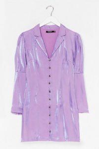 NASTY GAL Shimmer Button Down Soft Blazer Dress Lilac