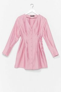 NASTY GAL Shimmer Over Here Mini Shirt Dress in Pink