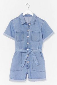 Nasty Gal Short But Sweet Denim Belted Romper | casual rompers | playsuits