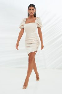LAVISH ALICE short puff sleeve ruched mini satin dress in stone