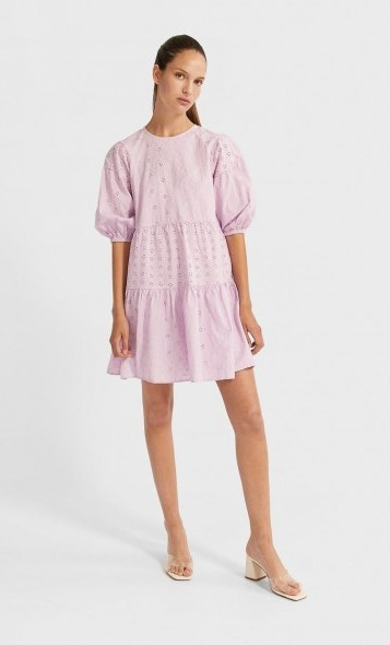 stradivarius Short Swiss embroidery dress mauve - flipped