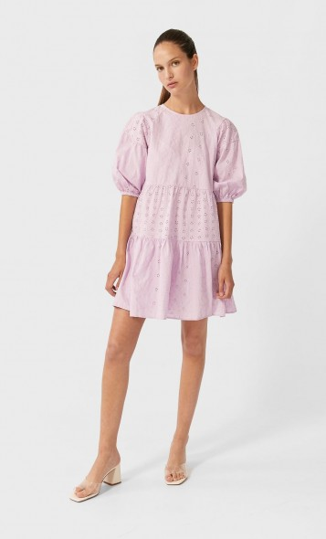 stradivarius Short Swiss embroidery dress mauve