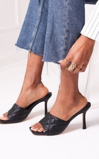 The Fashion Bible SICILY – BLACK NAPPA SQUARE TOE HEEL WITH QUILTED FRONT STRAP | padded high heel mules