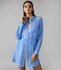 REISS SICILY LINEN SHIRT DRESS PALE BLUE ~ vacation cover-up