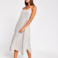 RIVER ISLAND Silver sequin cami dress / glittering slip dresses
