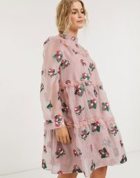 Sister Jane mini smock dress with tiered skirt in pink strawberry embroidered organza