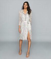 REISS SKYLA LAMÉ DETAILED CHIFFON DRESS ECRU ~ luxe shirt dresses