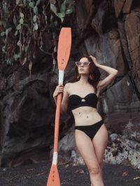 Black bikini and sunglasses for that vintage look