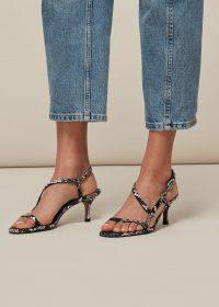 WHISTLES MILANA ASYMMETRIC SANDAL SNAKE PRINT / strappy mid heel sandals