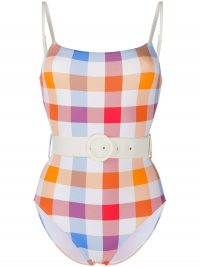 Solid & Striped check print belted swimsuit