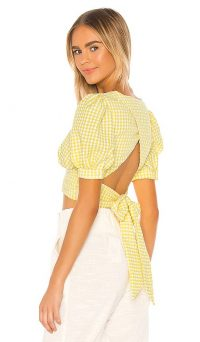 Song of Style Jane Top Yellow Gingham / puff sleeved open-back tops