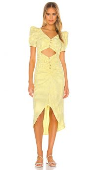 Song of Style Midi Dress Yellow Gingham / puff sleeve cut out dresses