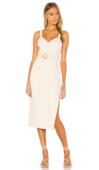 Song of Style Paulina Midi Dress Beige Check