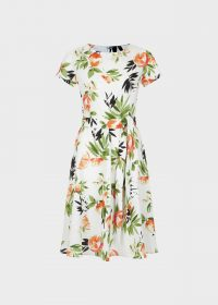 HOBBS SORRENTO DRESS WHITE MULTI / summer fit and flare