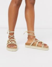 South Beach rope footbed sandals in natural | strappy summer sandal