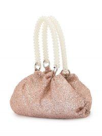 0711 sparkly Shu handbag rose pink / beaded top handle bags