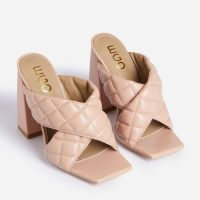 EGO Sponge Quilted Crossover Square Peep Toe Block Heel Mule In Nude Faux Leather – chunky heeled padded mules