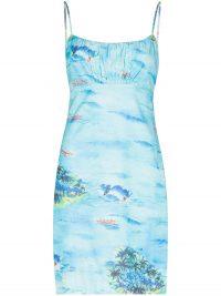 STAUD Bell mini dress / island prints / blue spaghetti strap dresses