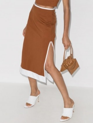 STAUD Desmond High Waist Midi Skirt ~ tan side slit skirts