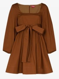STAUD Isabella Scoop Neck Cotton Mini Dress / tan empire line dresses
