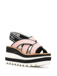 STELLA MCCARTNEY Sneak Elyse 80mm sandals in old rose | pink cross front flatforms