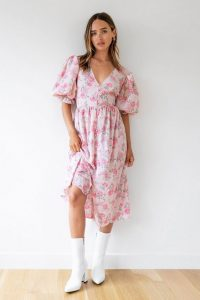 NASTY GAL Strike a Rose Floral Midi Dress / puff sleeve summer dresses