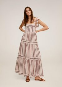 MANGO INDI Striped long dress | tiered summer maxi