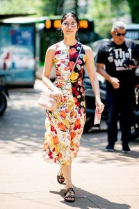 Ruching and mismatched floral prints