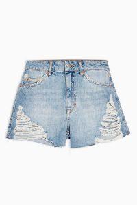 TOPSHOP Super Ripped A-Line Mom Denim Shorts