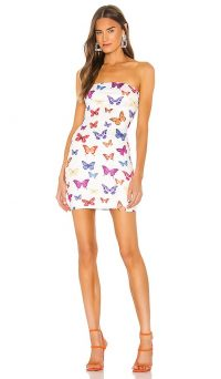 superdown x Draya Michele Chloe Strapless Bodycon Dress / insect print mini / butterflies