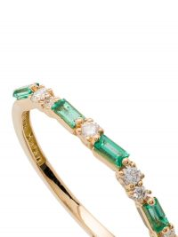 Suzanne Kalan 18kt yellow gold emerald and diamond baguette ring ~ narrow luxe rings ~ emeralds and diamonds