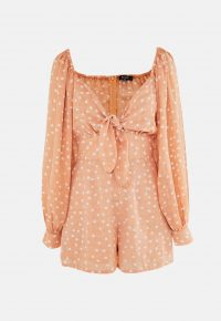 MISSGUIDED tall orange polka dot tie front milkmaid playsuit