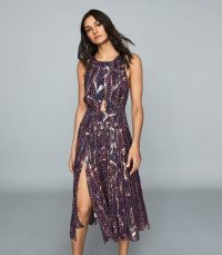 REISS TAMMY LAMÉ PRINTED CHIFFON DRESS NAVY PRINT ~ cut-out fit and flare ~ double slit summer event dresses