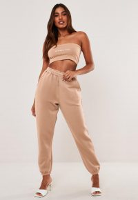 MISSGUIDED tan oversized joggers – cuffed jogging bottoms