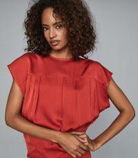 REISS TARA DRAPE DETAIL MINI DRESS RED / deep V back dresses