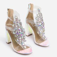 EGO Tatum Jewel Embellished Block Heel In Silver Holographic Snake Print Faux Leather