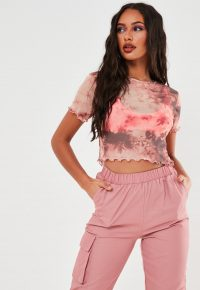 MISSGUIDED taupe tie dye mesh crop top
