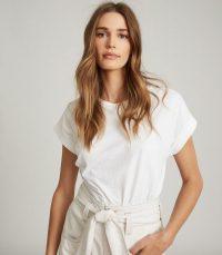 REISS TEREZA COTTON-JERSEY T-SHIRT WHITE / casual wardrobe staple