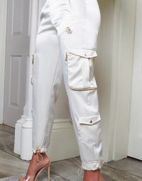The O Dolls Collection satin cargo jogger in cream / logo detail joggers / sports luxe fashion