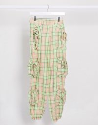 The Ragged Priest relaxed joggers with pockets in pastel pink and green check